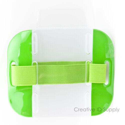 Reflective Green Arm Band Photo ID Badge Holder Vertical w// Elastic Green Band