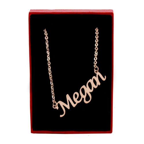 """/""""Megan/"""" Name Necklace Stainless Steel// 18ct Rose Gold PlatedChristmas"""