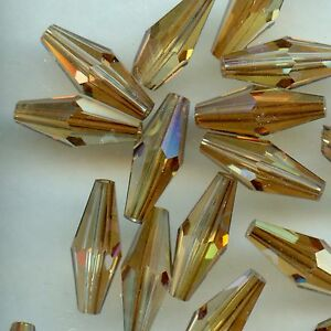 5205-15-CO-4-OLIVES-DOUBLE-CONE-SWAROVSKI-15x6mm-CRYSTAL-COPPER