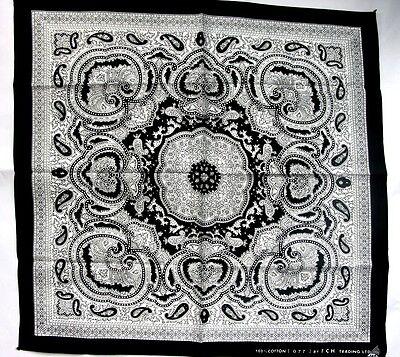 PAISLEY BLACK-WHITE BANDANA 077 NECK HEADBAND BIKERS SCARF WRIST SPORTING COTTON