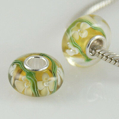 WHITE FLOWER ON YELLOW MURANO GLASS .925 Sterling Silver EUROPEAN Bead Charm