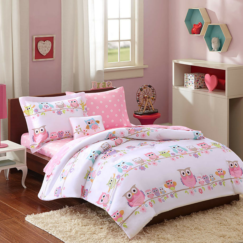 BEAUTIFUL FLOWER WHITE GREEN OWL DOT AQUA blueE PINK COMFORTER SET FULL OR TWIN