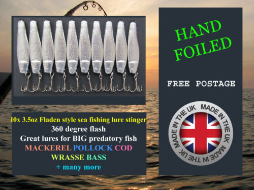 10x 3.5oz Fladen style sea fishing lure stinger spinning boat cod mackerel lures