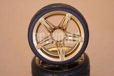 RC 1/10 Car Tires Wheel Set GOLD 5 STAR  Rims Semi Slick Tires
