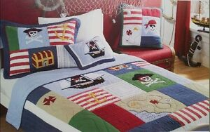 Image is loading Twin-Kids-Pirate-Of-Caribbean-Cotton-Quilted-Coverlet-