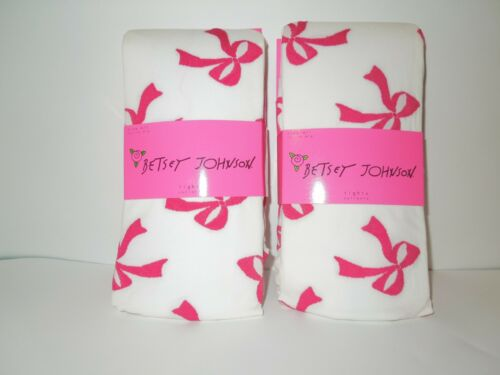 White /& Pink Sz M//L 2 Betsey Johnson Women/'s Bouncing Bows Tights