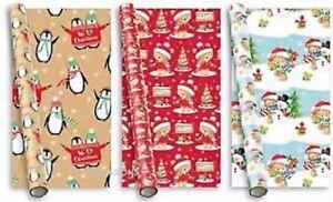 Détails Sur 3 Noël Mignon Papier Cadeau Rouleau Papier Cadeau Luxe Noël Voeux Anniversaire Enfant Afficher Le Titre Dorigine