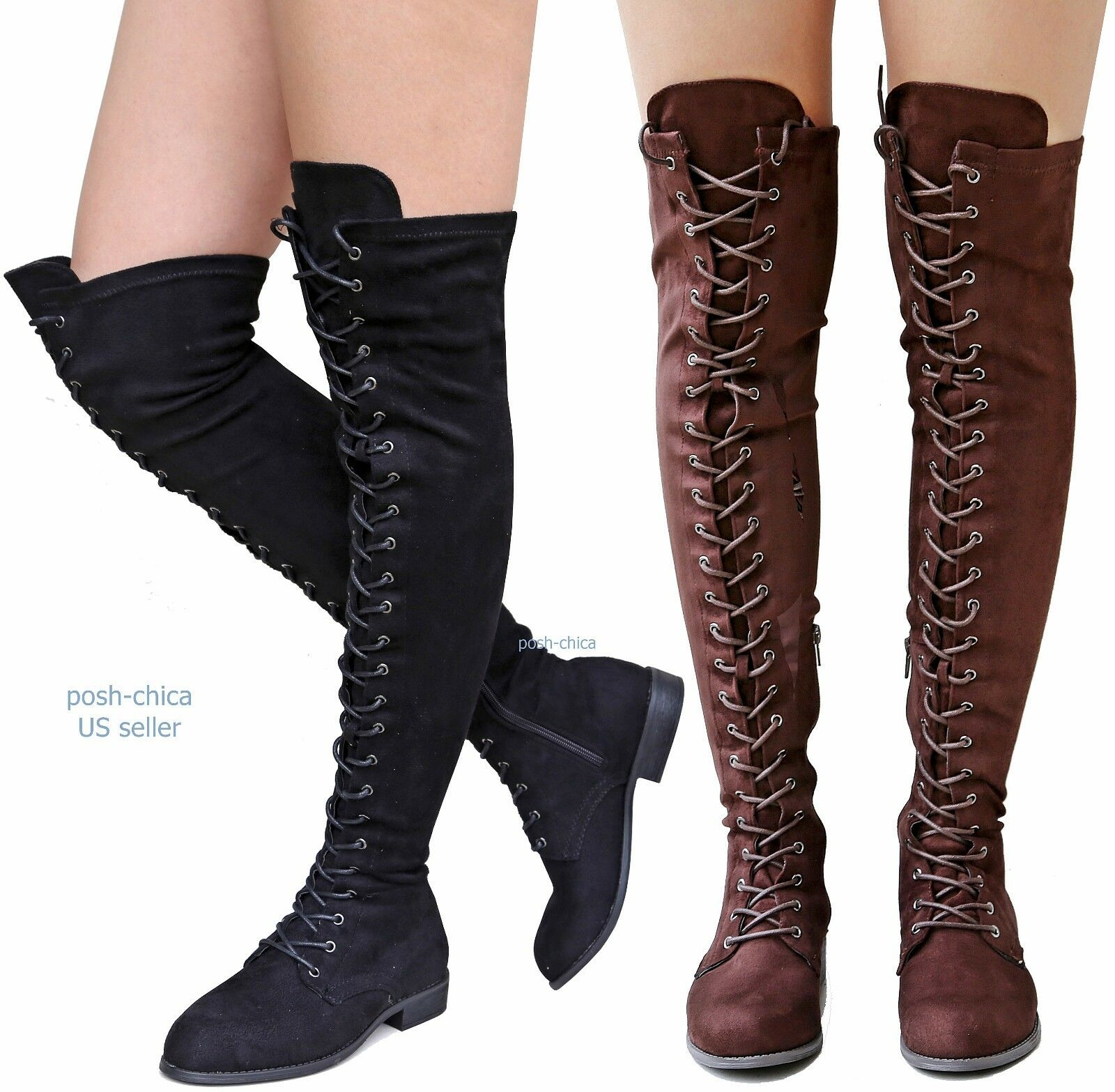 New Women WO8 Vegan Suede Over the Knee Thigh High Combat Lace Up Military Boots