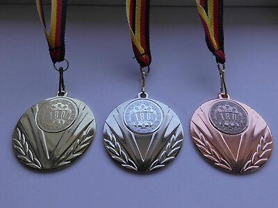 Armbrust Pokal Medaillen 50mm 3er Set Deutschland-Bändern Pokale Turnier Emblem