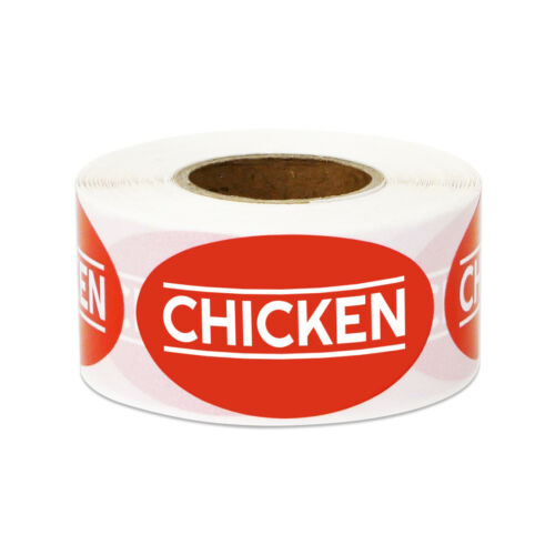 """Chicken Letter Text Sticker Labels Food Meat Grocery Supermarket 1.75/"""" x 1/"""" Red"""