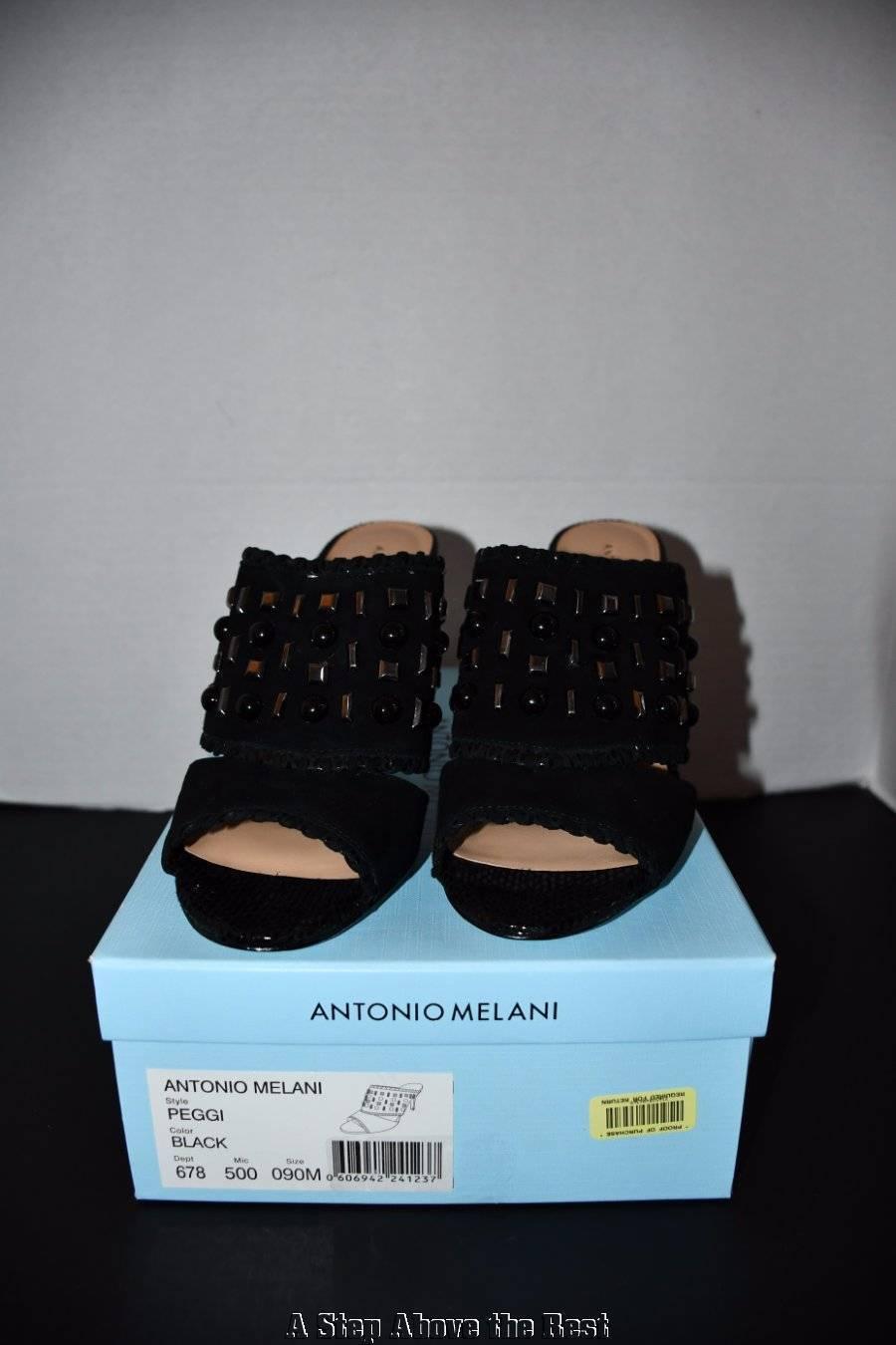 Antonio Melani Peggi Studded Leather Peep Toe Dress Mules Size 9M NIB