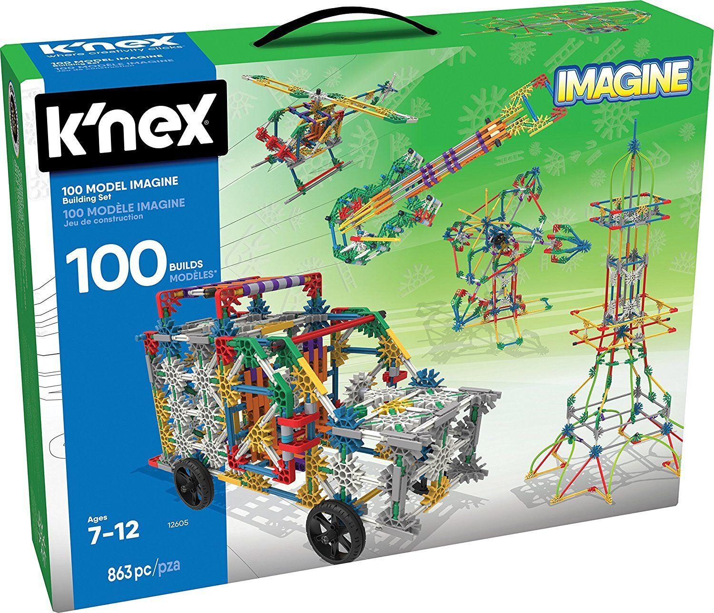 Knex 863 piezas Conjunto de construcción 100 Modelos imaginar Niños Juguete Educativo de ingeniería