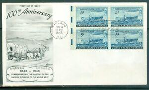 US-FDC-958-100th-ANNIV-SWEDISH-CANCL-JUN-4-1948-NOT-Addr-FLEETWOOD-COVER