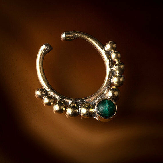 Brass Fake/Faux/Clip On Septum Ring With Stone please choose (Code 6)