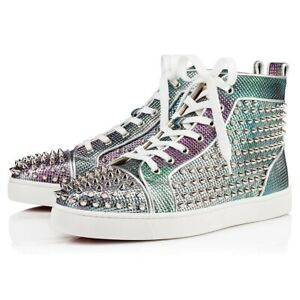 Details about Christian Louboutin Men Louis Orlato Flat SP Pointille Spike High Top Sneaker 44