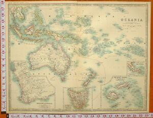 Map Of Australia New Zealand And Fiji.Details About 1898 Large Antique Map Oceania Australia New Zealand Polynesia Tasmania Fiji