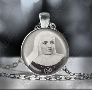 St-Laura-Catholic-Necklace-Christian-Medal-Black-and-White-Pendant-Patron-Saint