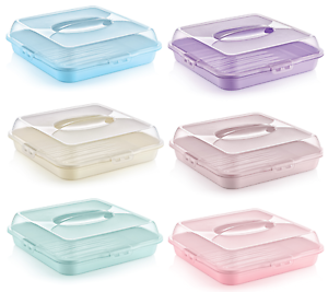 SQUARE Large Plastic Cake Storage Box Cupcake Caddy Carrier