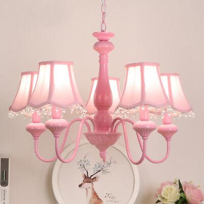 Girl Bedroom Ceiling Crystal Lamps Pink Color Chandelier ...