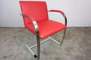 Knoll Studio Mies Van Der Rohe Brno Style Chair In Red Leather Ebay