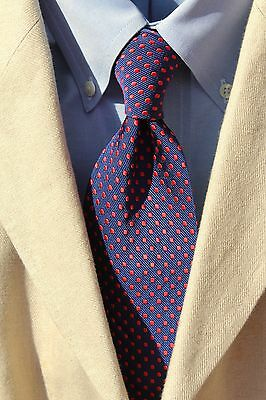 Villa Ponti Gent's Navy Blue & Red Dotted Woven Silk Tie - Italy - Big & Tall
