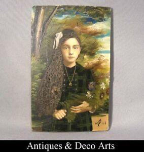 Art-Nouveau-Painting-on-Photo-of-a-Girl-Signed-amp-Dated-1918