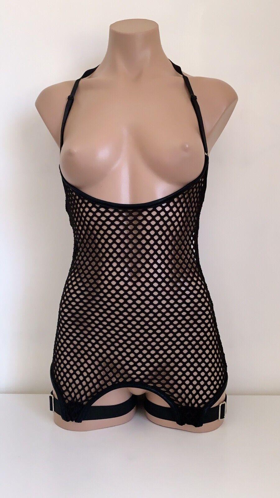 Schminke 🔒 mesh dress garter belt fishnet net Lycra festival clothing pole wear