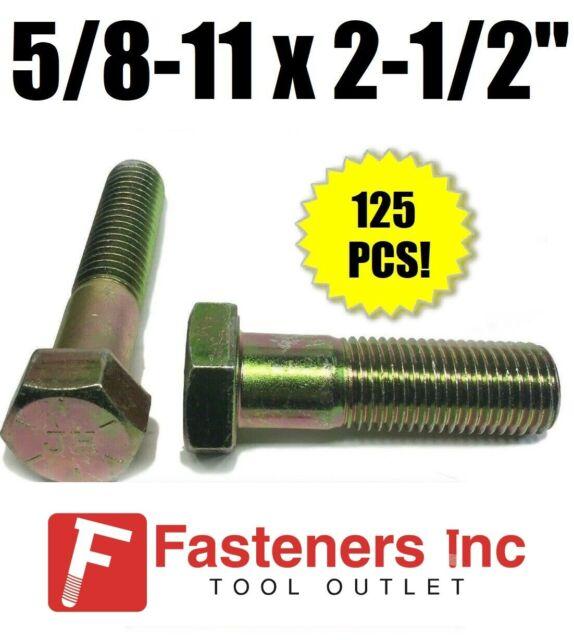 15 Hex Head 5//8-11 x 4-1//2 Grade 5 Bolts Cap Screws Zinc