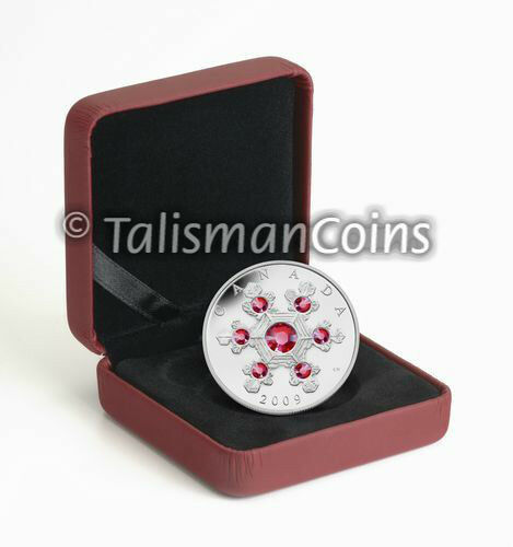 Canada 2009 Crystal Snowflake $20 Pure Silver Proof with PINK Swarovski Crystals