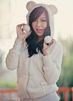 Asian Korean Fashion Style Cute Teddy Bear Ear Hoodie Jacket Coat White