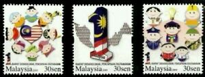 SJ-1-Malaysia-2009-Races-Cartoon-Unity-Costumes-Police-Fireman-stamp-MNH