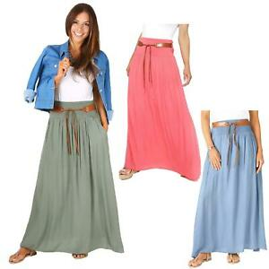 Womens-Ladies-Maxi-Skirt-Pleated-Boho-Hippie-Long-Tie-Belted-Light-Cotton-Summer