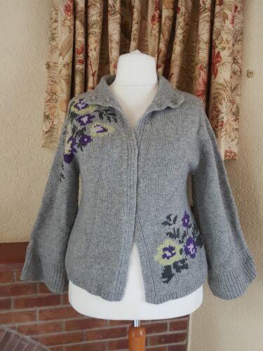 montant ᄄᄂ gris fleurs laine mouson Cardigan col 16NouveauNo M14 taille mᄄᆭlangᄄᆭe l en Yg6f7by