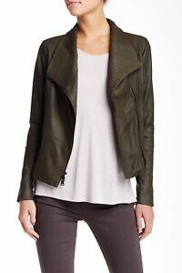 994d73aea Details about $995+ VINCE Leather Scuba Jacket Black Lustrous Asymmetrical  Closure ASH GREY L