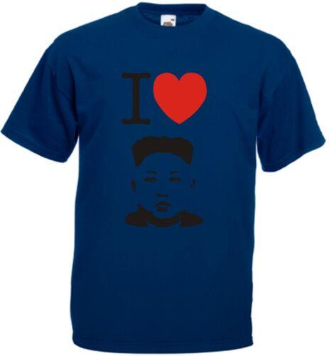 KIM JONG UN T-SHIRT I LOVE KIM JONG-UN HEART NORTH KOREA