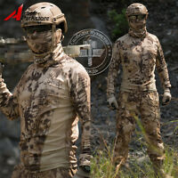 Camouflage Quick-dry Long Sleeve T-shirt Tactical Outdoor Hunting Desert Camo