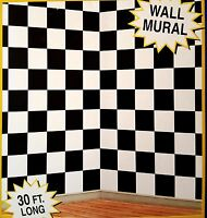 30ft Black White Checkered Nascar Racing Mural 50's Scene Setter Photo Backdrop