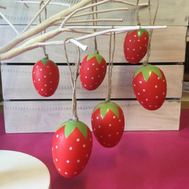 6 X Strawberry Easter Egg Tree Decorations Gisela Graham Red Fun