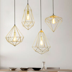 Details About Creative Black Gold Diamond Geometric Cage 1 Lamp Ceiling Hanging Pendant Lights