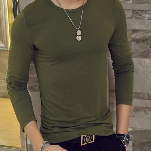 Fashion Men Slim Fit Long Sleeve Slim T-shirts Casual Tee Shirt Tops Pullover L