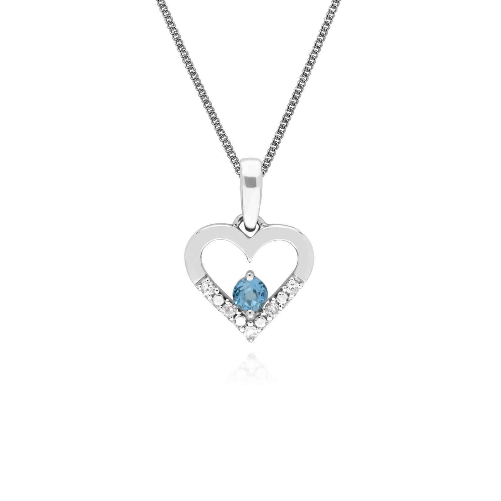 Gemondo 9ct White gold Single bluee Topaz & Diamond Heart Pendant on 45cm Chain