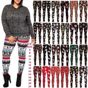 Womens-Christmas-Legging-Ladies-Santa-Reindeer-Tartan-Candy-Stick-Xmas-Pants