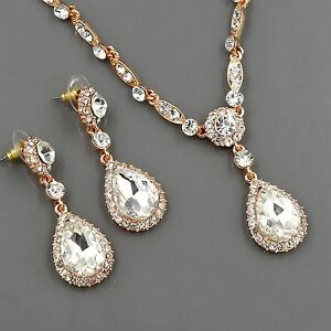 ROSE GOLD Plated Clear Crystal Necklace Pendant Earrings Wedding