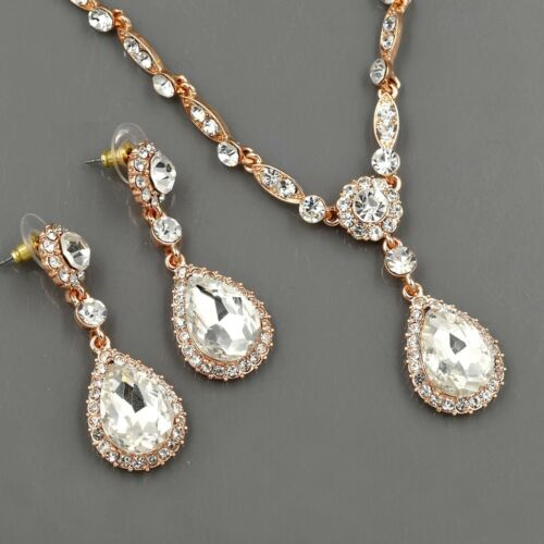 ROSE GOLD Plated Clear Crystal Necklace Pendant Earrings Wedding Jewelry Set 496