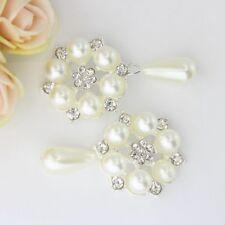 Lot//10 Crystal Diamante Flower Button Flatback Embellishment Craft DIY 26mm