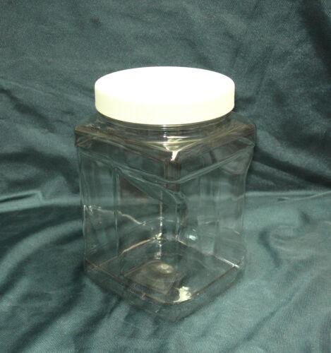 1//2 o 1 Galones de plástico Pet Transparente Cuadrado tarros de boca ancha con tapones de Forrado Blanco
