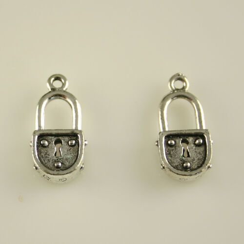 5 Lead Free Antique Silver Tone Pewter Charms Lock