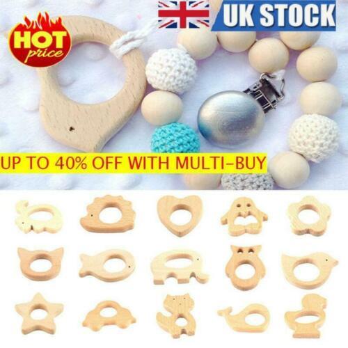 Handmade Nature Wooden Animal Shape Baby Teether Nursing Holder Toys