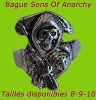 Bague Anneau Sons Of Anarchy En Métal Tête De Mort Faucille Samcro Ring Skull