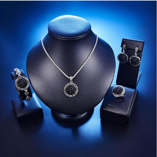 Materia señora remolque con swarovski gotas de cristal 925 plata azul para cadena